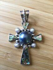 Merav QVC .925 Abalone Necklace Cross Pendant