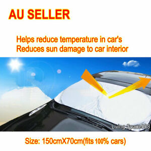 Car Sun Shade Front Interior Window Visor Reflex Spring Loaded Large One Piece