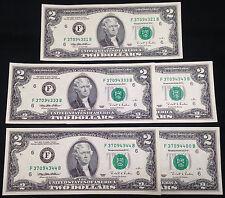 FIVE $2 Two Dollar Bills, Cool Serial #s, Crisp GEM Uncirculated, 1995 Atlanta