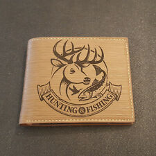 Hunting and Fishing, Mens Bifold Pu Leather Wallet, RFID Blocking, Deer, Fish