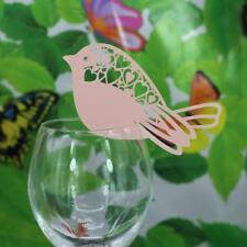 Lot 50 Marque Place Oiseau Mariage Carte de Nom Art Déco Verre Table Rose