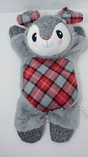 Time for Joy gray red plaid flat plush bunny crinkle squeaker stuffed dog toy