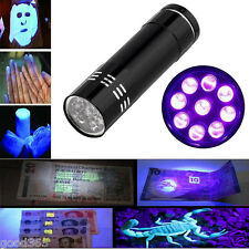 Mini Aluminum Ultra Violet 9 LED UV Flashlight Blacklight Torch Light Lamp New