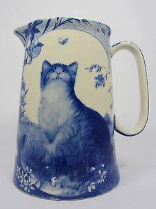 ROYAL STONE FLOW BLUE CAT DESIGN JUG IN VARIOUS SIZES