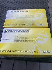 Ironskin - Latex, Medical, Lightly Powdered Exam Gloves, 100 Pieces, Medium (M)