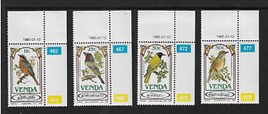 1985 Venda (South Africa) - Song Birds - Full Set of Four Corners - MNH.