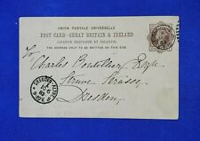 1883 Great Britain Commercial Postal Card 1 penny - London to Dresden, Germany
