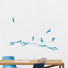 Sea Wall Decal Waves Seagulls Vinyl Sticker Bathroom Decor Nautical Mural 115xxx