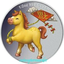 2014 Australia Lunar Horse Chinese Fu 1/2oz Colorized Silver Proof Coin Perth !