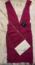 New Women's $32 Forever 21 Fuchsia M V-neck Sexy M zipper body-con Dress