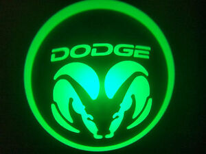 2PC GREEN DODGE 5W LED EMBLEM DOOR PROJECTOR GHOST SHADOW PUDDLE LOGO LIGHT
