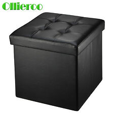 Ollieroo Folding Ottoman Storage Box Seat Chest PU Leather Foot Stool Top