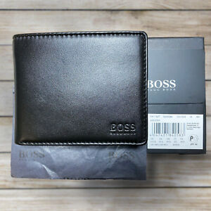 a HUGO BOSS Arezzo Men's Trifold Card and Coin Pocket Wallet Black 50250280