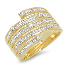 1.10CT 14K Yellow Gold Channel Set Baguette Diamond Multi Row Cocktail Ring Band