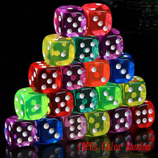 10Pcs Six-Side D6 Transparent 16mm RED RPG DICE Square Cube Dices Round Corner