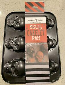 Nordic Ware skull cakelet cake pan Halloween skeleton 3 Cup NEW Free Shipping
