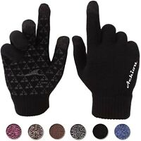 Achiou Winter Knit Gloves Touchscreen Warm Thermal Soft Lining Elastic Cuff Text