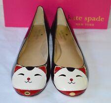 New $258 kate spade New York Jimi Flats Black/Cream Patent Leather Kitty Cat 9.5
