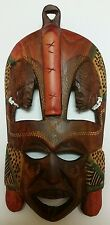 Hand carved wood mask African Kenyan Tribal Wedding Friendship Wooden wall hang!