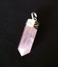 ROSE QUARTZ POINT PENDANT SILVER PLATED GEMSTONE CRYSTAL NEW AGE WICCA REIKI