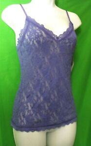 NEW HANKY PANKY 484731 PURB MADE IN USA LINGERIE STRAPS V-NECK LACE CAMISOLE L