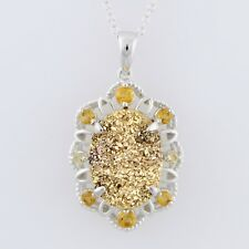 Sterling Silver 6ctw Citrine 1.25'L With 18' Chain