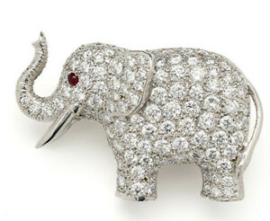 4.52ct NATURAL ROUND DIAMOND RUBY GEMSTONE 14K SOLID WHITE GOLD ELEPHANT BROOCH