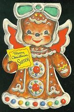 Gingerbread Angel - Merry Christmas Sister Glittered Icing  Hallmark Card 1940s