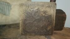 "Handcrafted Antique Early Primitive Mold Wood Dragon Print Stamp 5.5""Nice patina"