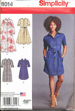 SIMPLICITY SEWING PATTERN 8014 MISSES 16-24 CLASSIC SHIRT DRESSES IN PLUS SIZES