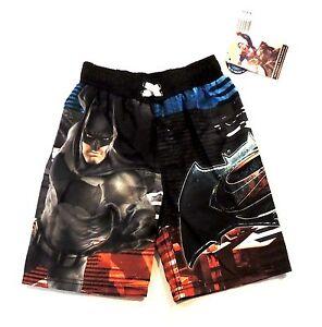 Boys Superhero Swim Trunks Size 4 Batman Superman Board Shorts Swim Shorts NWT