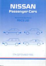 Nissan Price List 1985 Sept Micra Cherry Sunny Prairie Stanza Bluebird 300