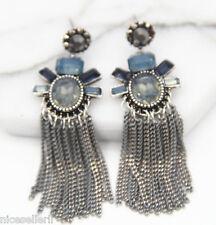 BOHO Fashion Brown Crystal Ear Drop Dangle Stud long Ancient Silver Earrings 274