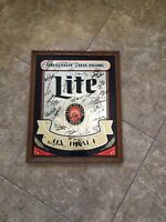* RARE * VINTAGE * SIGNED * Miller Lite On Draft Oak Framed Mirror Bar Sign