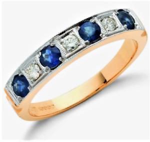 18ct Gold Ring 0.8CT Sapphire 0.14CT Diamond Eternity 18 Carat Yellow Gold NEW