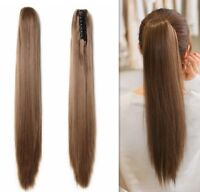 Real hair pony tail extension ponytail 100% human hair claw jaw clip in ponytail