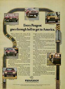 1976 Peugeot 504 Sedan Wagon Goes Through Hell Testing Auto Vintage Print Ad