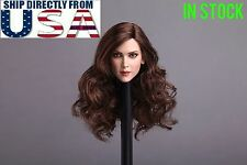 1/6 Female Head Sculpt Long Curly Hair For PHICEN Hot Toys Figure USA IN STOCK