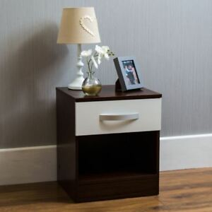 Hulio High Gloss Bedside Cabinet White Walnut 1 Drawer Bedroom Furniture New