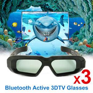 3x 3D-Brille Shutter für Samsung Sharp Sony 3D TV Blue-tooth USB Rechargeable DE