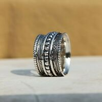 925 Sterling Silver Spinner Ring Wide Band Meditation Statement Jewelry A371