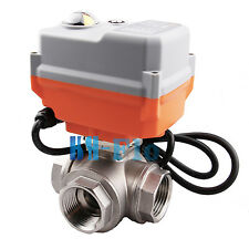 "HSH-Flo 1"" 12VDC 3 Way SS304 Motorized Ball Valve, Auto Return Electrical Valve"