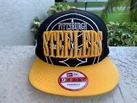 Rare New Era Men's 9Fifty Hat NFL Pittsburgh Steelers Team Black/Gold Snapback
