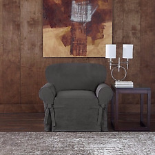 Sure Fit® Designer Twill Chair Slipcover grey