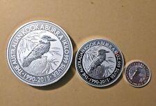1990-2015 Kookaburra Silver Bullion Coin Set - 1 kg, 10 oz (environ 283.49 g) & 1 oz (environ 28.35 g)