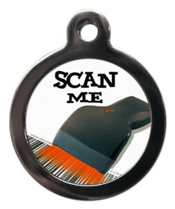 Pet ID tag SCAN ME SCANNER black Picture Tag 2 sizes