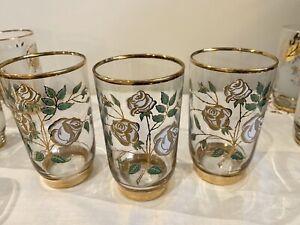 Vintage Original Libbey Drinking Glasses ~ Rose Buds with Gold Rim ~ Set Of 3