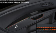 ORANGE STITCH 2X FRONT DOOR CARD ARMREST COVER FITS FIAT GRANDE PUNTO 05-11 3DR