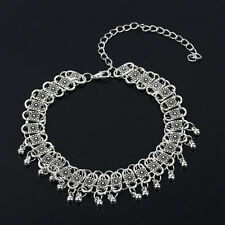 Fashion Silver Retro Chocker Bells Tassel Pendant Collar Necklace Womens Jewelry