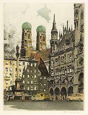 MÜNCHEN - Marienplatz & Frauenkirche - Rudolf Veit - Farbradierung 1930